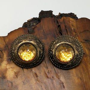Vintage huge Africa bronze acrylic Amber dome